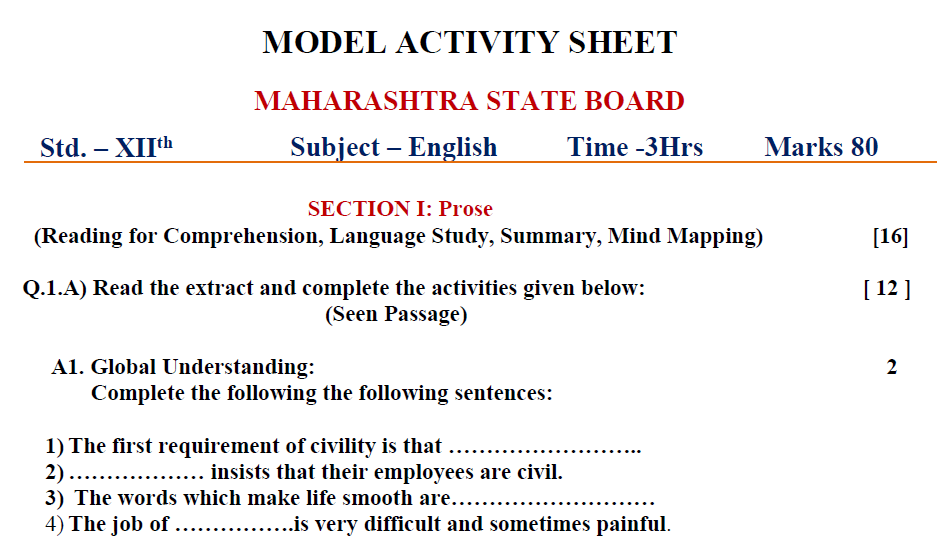 Std.12th. Sample Question Paper