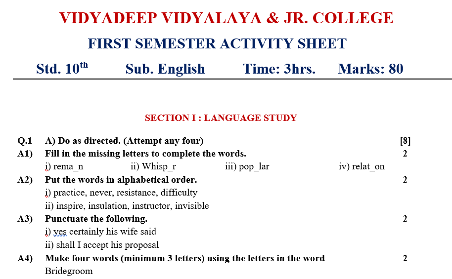 Sample Question Paper Std.10th
