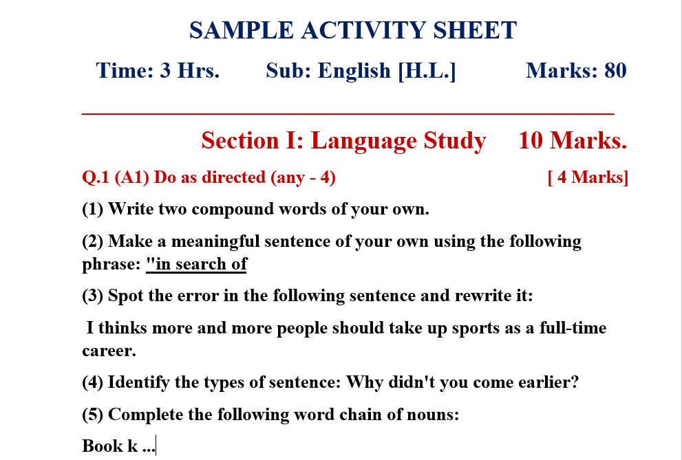 Sample Activity Sheet Std.10th (English Medium)