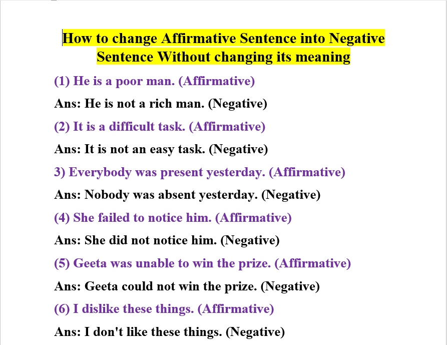 How to change Affirmative Sentence into Negative