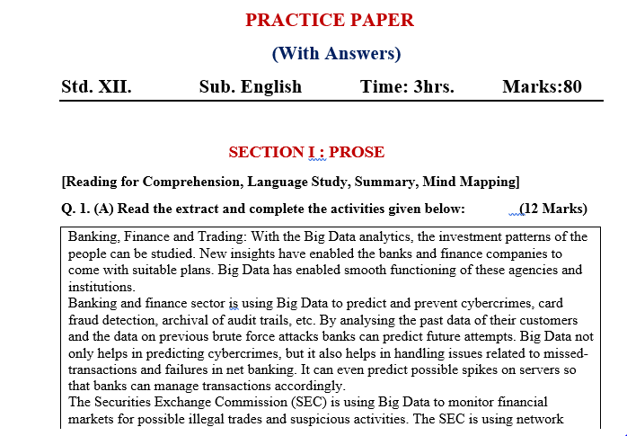 Sample Practice Paper With Answer Sheet