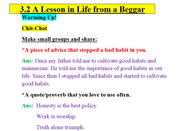 3.2 A Lesson in Life from a Beggar
