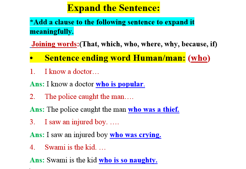 Expand the Sentence