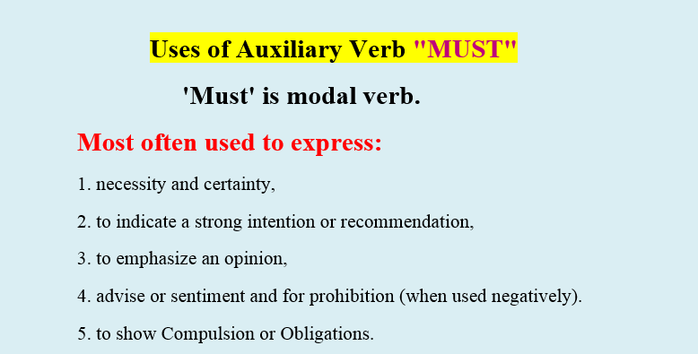 Using Modal Auxiliary Verb 'Must' English grammar