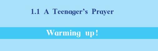 A Teenager's Prayer : Warming Up Activity